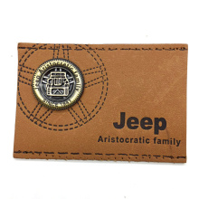 New Design Custom Debossed Name PU Fake Leather Jeans Clothing Patch Label with Custom 3D Metal Logo