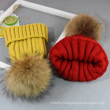 Modern thick yellow round wool hat for winter