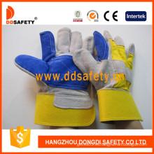 Guante de cuero dividido de doble piel de algodón amarillo con espalda vaca -Dlc329