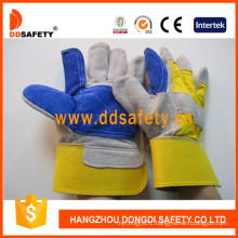 Double Leather Yellow Cotton Back Cow Split Leather Glove Dlc329