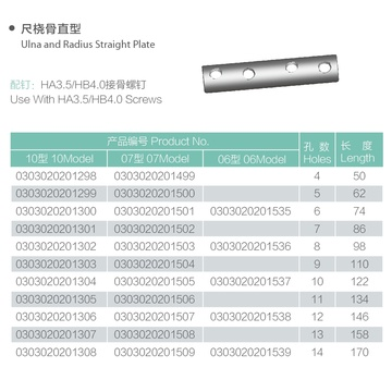 1/3 Tubular LCP Straight Titanium Locking Plate
