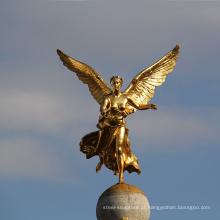 Construção de alta qualidade decoração bela escultura de anjo de bronze