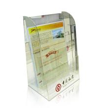 Clear Perspex Counter Display Regal für Poster, frei stehende Acryl Display Produkte