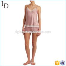 Pijamas de seda macio pijamas mulheres com renda guarnição sleepwear P11