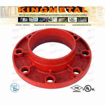 FM /UL Approved Grooved Fitting Ductile Iron Red Flange Adaptor.