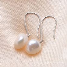 White Big Baroque Freshwater Pearl Earrings