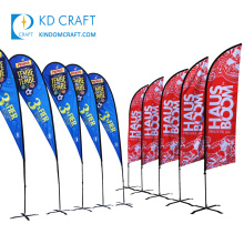 High quality custom eco friendly colorful printing outdoor feather shaped flying banners for sale