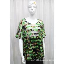Senhora moda flor impresso poliéster de malha oco t-shirt (yky2205)