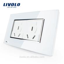 Panneau en verre multi points d'alimentation mural standard US Livolo VL-C3C2B-81