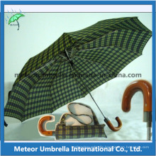 2 Folding Auto Open Wooden Handle Umbrella for Men