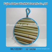 Nuevo diseño de bambú titular de la olla de cerámica con cuerda de elevación