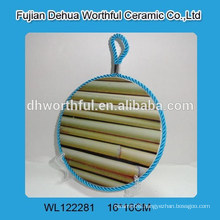 New bamboo design ceramic pot holder with lifting rope