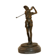 Estatua de latón deportes golf jugador femenino decoración bronce escultura Tpy-784