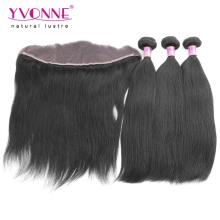 Бразильского Виргинские пучки волос с кружевом фронтальной