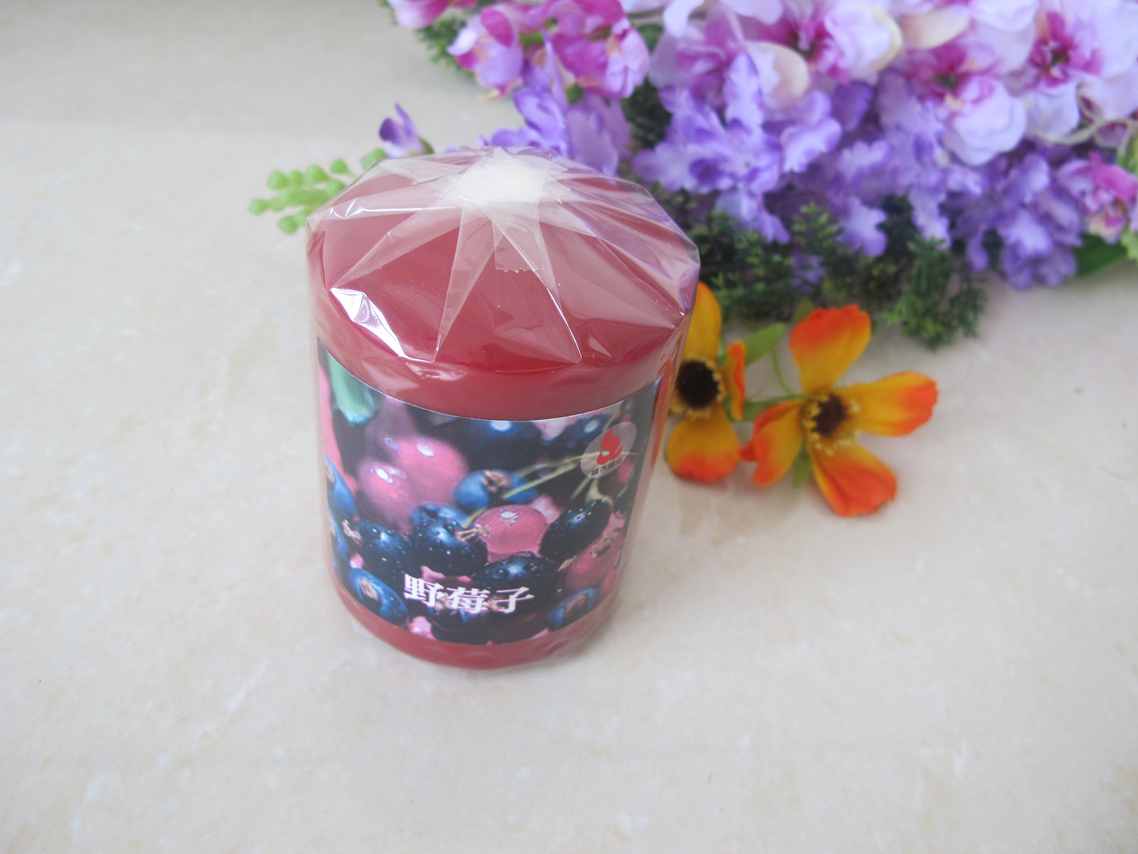 Burgundy Colour Pillar Candle