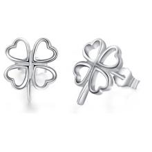 925 Sterling Silver Cuatro Leaf Clover Stud Pendientes de la boda de joyería