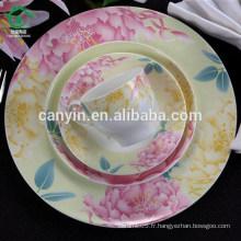 Assiette de soupe imprimée fleur fleurie en céramique en céramique