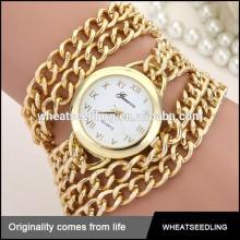 geneva gold bracelet stainless steel chain wrist watch