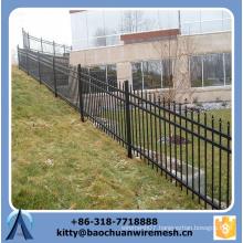 Applying to sloping terrain powder coated black steel fence for garden