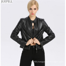 New Fashion Women′s Small Leather Collar Slim Leather Jacket Short Section of European and American Fashion Wholesale Jackets