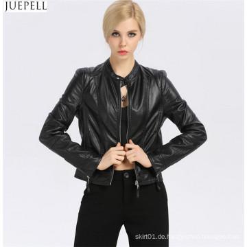 Neuer Mode-Frauen-kleiner lederner Kragen-dünne Lederjacke-kurzer Abschnitt der europäischen und amerikanischen Art- und Weisegroßhandelsjacken