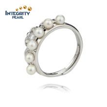 Anel de pérolas de água doce de 925 Sterling 3.5-4mm AA Round Small Pearl Rings