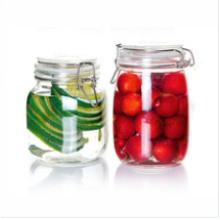 Jarro de armazenamento de vidro hermético com clip de metal, vidro de jarra de mel, vidro Jarro de cookie