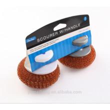 Venta caliente Copper Coated Scourer / Copper Mesh Ball Scourer Con la manija