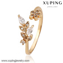 13775 Fashion Latest Cubic Zirconia Leaf Jewelry Finger Ring in 18k Gold -Plated