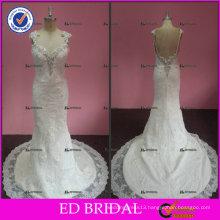 ED Sexy Sleeveless Beaded Open Back Tulle Court Train Wedding Dresses 2017