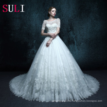 ZXB12 Bridal Gown Short Sleeves Lace Muslim Wedding Gown