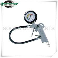 El inflador flexible negro del aire del dial, inflador del neumático, neumático infla el indicador, infle el arma del neumático