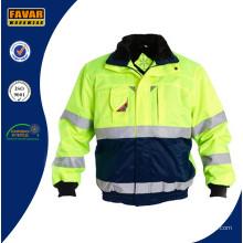 Hola vis acolchado chaqueta de invierno con reflector cinta de trabajo