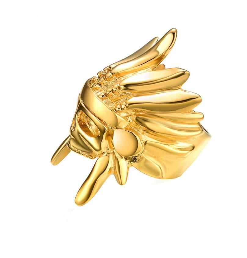 Cool Mister Indian Chief Gold Ring For Men