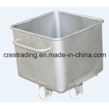 Kitchen Square-Shaped Stainless Steel Meat Cart Trolley with 4 Wheels