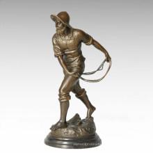 Eastern Life Statue Farming Male Bronze Figure Sculpture TPE-390