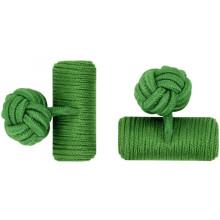 Gemelos de nudo de seda elásticos de barril personalizado verde