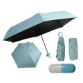 Mini Handy Pille Kapsel 5-fach Regenschirm mit Etui