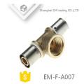 Connecteur de compression chromé EM-F-A007 Raccord de tuyau en laiton à 3 voies