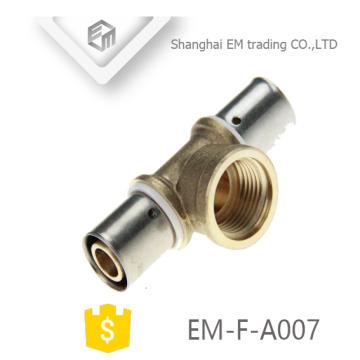 ЭМ-Ф-A007 хромированный Разъем Обжатия латунный 3-ходовой штуцер трубы