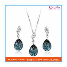 Ensemble bijoux et bijoux en cristal bleu africain