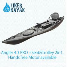 Rotomolded Boat Single Seat Kayak com assento confortável (incluindo carrinho), Motor Disponível