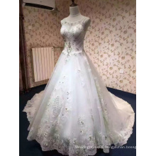Diamond Crystal Sweetheart Long Train Wedding Dress with Keyhole Back
