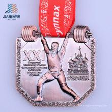 Medalha feita sob encomenda de bronze do bronze 3D da carcaça da liga quente da venda com fita
