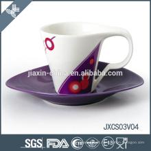 Novo design artesanal xícara de café pequeno copo conjunto porcelana xícara de café conjunto