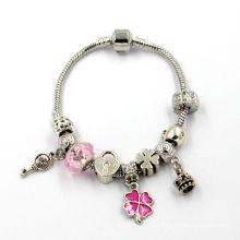 Красочные кристаллы европейского муранского стекла бисер Fit Snake Chain Charms браслет