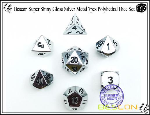 Bescon Super Shiny Gloss Silver Metal 7pcs Polyhedral Dice Set-1