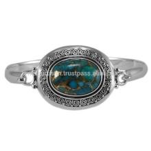 Синий меди бирюзовый драгоценных камней с 925 Серебряный круглый дизайн ручной работы Браслет