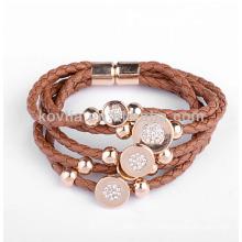 Bracelets en cuir tressé à la mode pour femmes