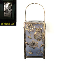Décoration de jardin Metal Square Owl Lantern Craft W. Solarlight
